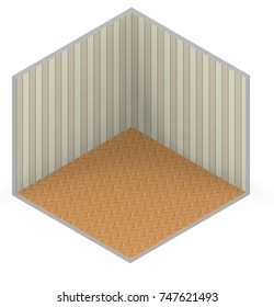3d interior rendering of brown striped wallpaper and wooden floor background