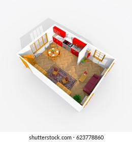 3d interior rendering of furnished kitchen