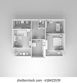 3d Interior Rendering Of Furnished Model Home Apartment