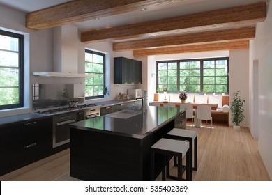 Large Kitchen Island Close Up Has Stock Photo Royalty Free