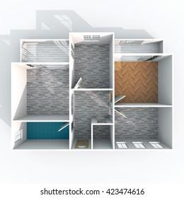 3d interior rendering plan view of empty roofless home apartment with pavement materials: room, bathroom, bedroom, kitchen, living-room, hall, entrance, door, window, balcony