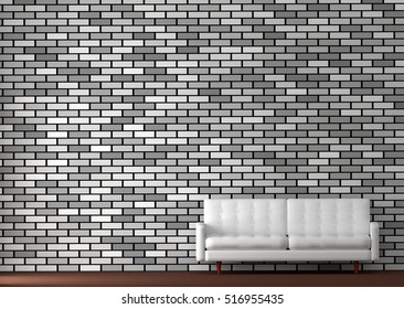 3d interior rendering of white sofa against gray brick wall