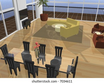 3D Interior setting with view