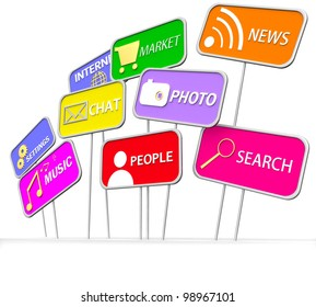 3D internet and social media icon on white background