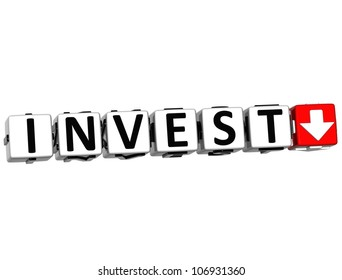 3D Invest Button Click Here Block Text over white background