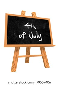 3d isolated blackboard with easel with text - 4th of July