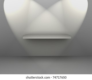 3d isolated Empty shelf for exhibit - this is 3d illustration