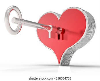3d Isolated Heart and Key Background.