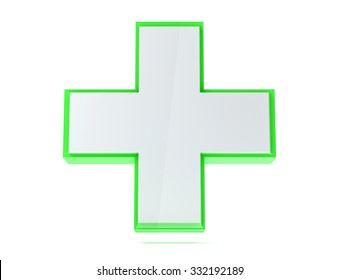 3D isolated medical aid cross render