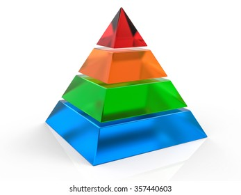 3D Isolated Pyramid Background. Hierarchy Concept.