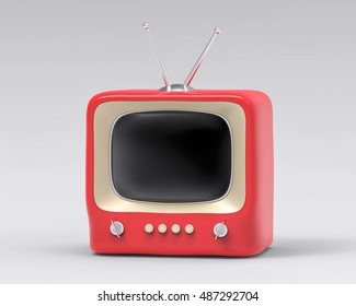 3d Isolated Red Small TV Television. Retro Vintage Concept.