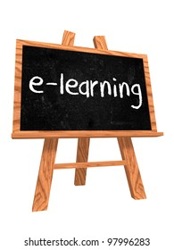 3d isolated wooden blackboard with text - e-learning