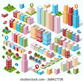 3d isometric city. Three-dimensional perspective of architectural details. Skyscrapers and buildings in an top view. Urban architecture. Flat style stock vector. Set of design elements.