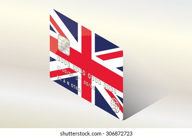 A 3D Isometric Flag Illustration of the country of  United Kingdom