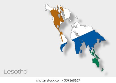 A 3D Isometric Flag Illustration of the country of  Lesotho