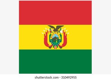 A 3D Isometric Flag Illustration of the country of  Bolivia
