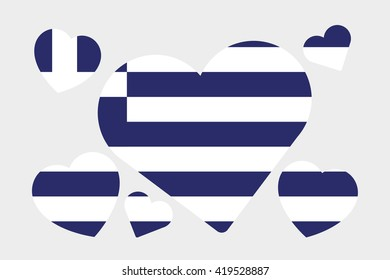 A 3D Isometric Flag Illustration of the country of Greece