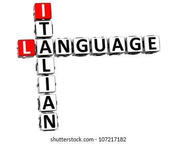 3D Italian Language Crossword on white background