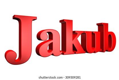 3D Jakub text on white background