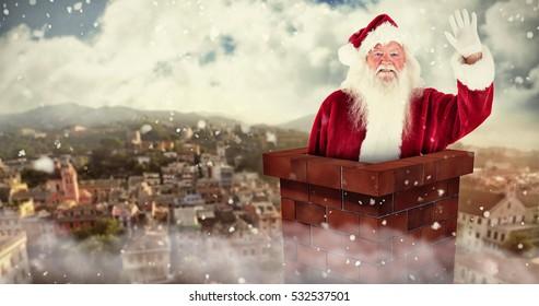 3D Jolly Santa waving at camera against city landscape