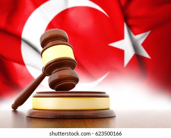 3D Judge Gavel with Flag of Turkey. 3D Rendering