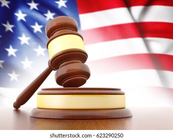 3D Judge Gavel with Flag of USA. 3D Rendering