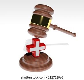 3d Judge's gavel with health cross