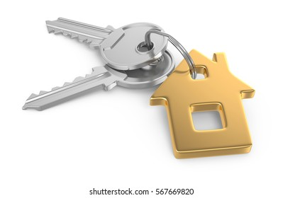 3D Key of house isolated on white