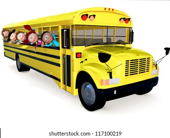 3D kids in a school bus having fun - isolated over white