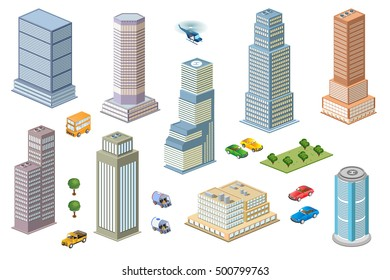 3D kit metropolis of skyscrapers, houses, gardens and streets in a three-dimensional isometric view