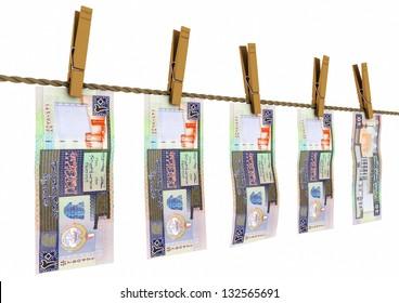 3D Kuwait money laundry on isolated white background