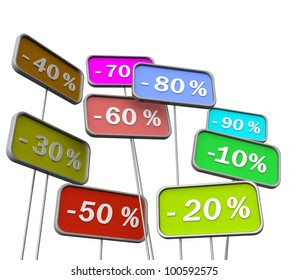 3D labels with discounts on a white background isolated
