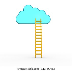 3d ladder leading to a cloud.