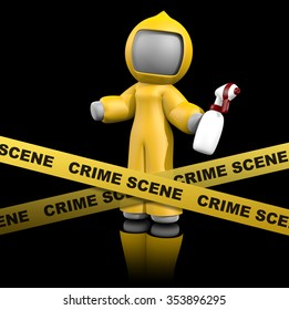 3d lady crime scene cleaner getting ready to clean a crime scene in a valid and legal way. Crime scene cleaning expertise business concept, with sanitation suit, sprayer, and crime scene tape.