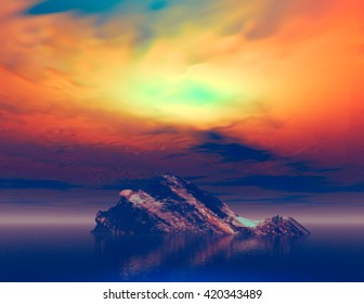 3D landscape Illustration where we observe an isolated rock on calm waters at sunset