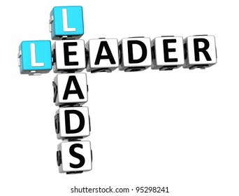 3D Leader Leads Crossword on white background