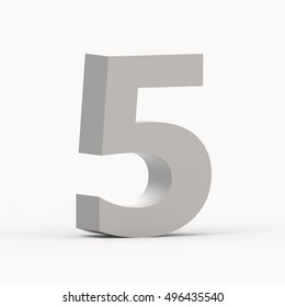 3d left leaning matte grey number 5, 3D rendering graphic isolated white background
