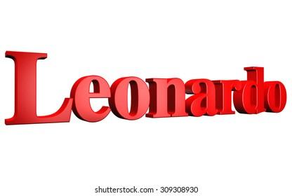 3D Leonardo text on white background