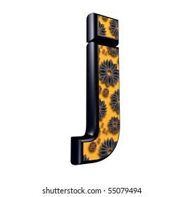 3d letter with floral design - j