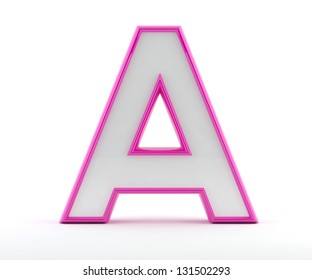 3D letter with glossy pink outline - Letter A