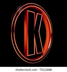 "3D Letter ""K"" in circle. Red metal. Black background"