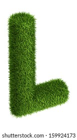 3D Letter L photo realistic isometric projection grass ecology theme on white