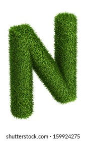 3D Letter N photo realistic isometric projection grass ecology theme on white