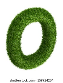 3D Letter O photo realistic isometric projection grass ecology theme on white