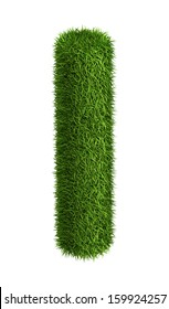 3D Letter I photo realistic isometric projection grass ecology theme on white