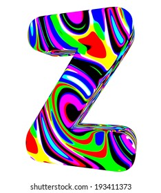 3d letter Z colored with bright colors