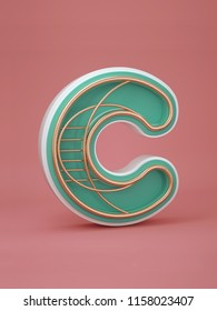 3D letters C three-dimensional letters