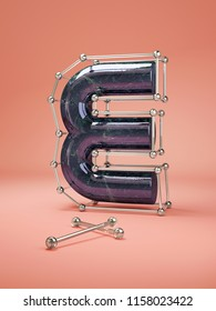 3D letters E three-dimensional letters