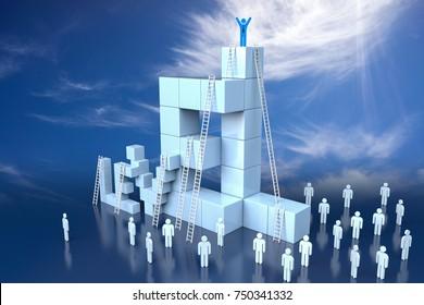 3D Level Block with Leadership Progress Concept. 3d rendering