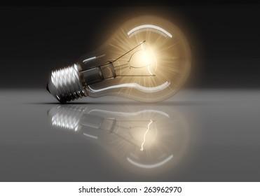 3D. Light Bulb, Abstract, Light.